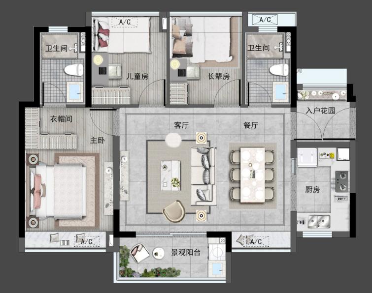B户型95㎡奢华3房