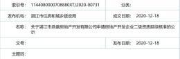 关于湛江市鼎盛房地产开发有限公司申请房地产开发企业二级资质延续核准的公示