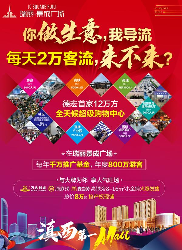 2021迎新年买商铺,总价8万起,还可存2万抵3万,就在瑞丽景成广场!