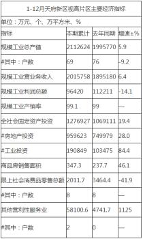 2020年1-12月天府新区视高片区主要经济指标公布