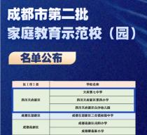 成都市家庭教育示范校(园)名单公布,天府新区3所上榜