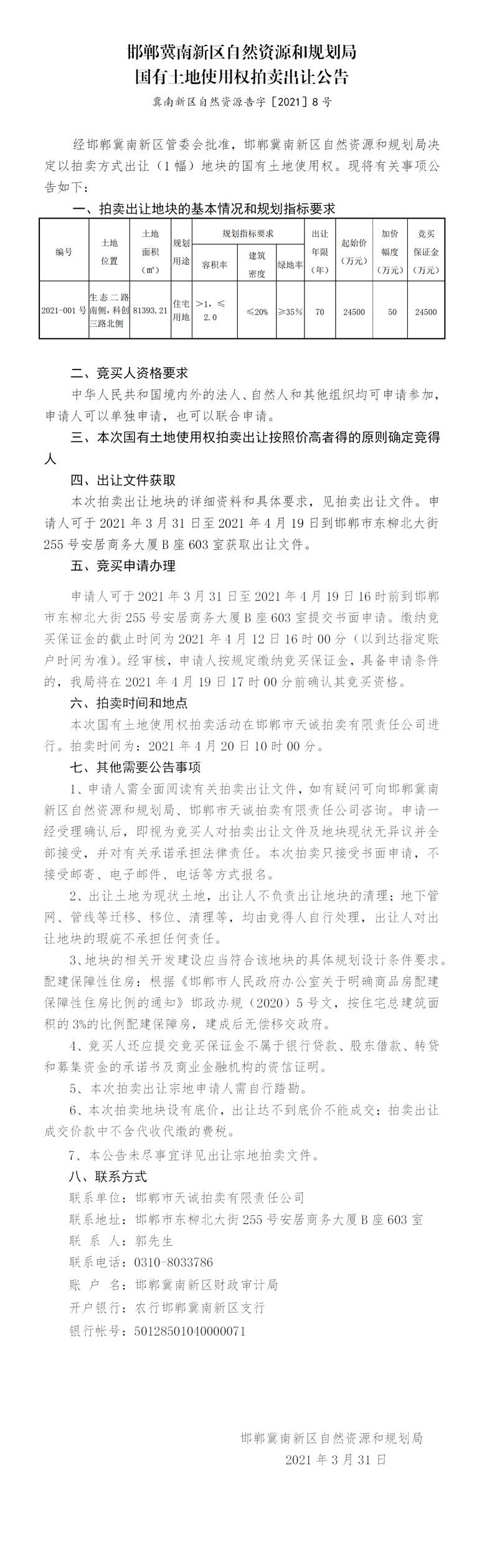 起拍价2.45亿,冀南新区122亩住宅用地再次挂牌!