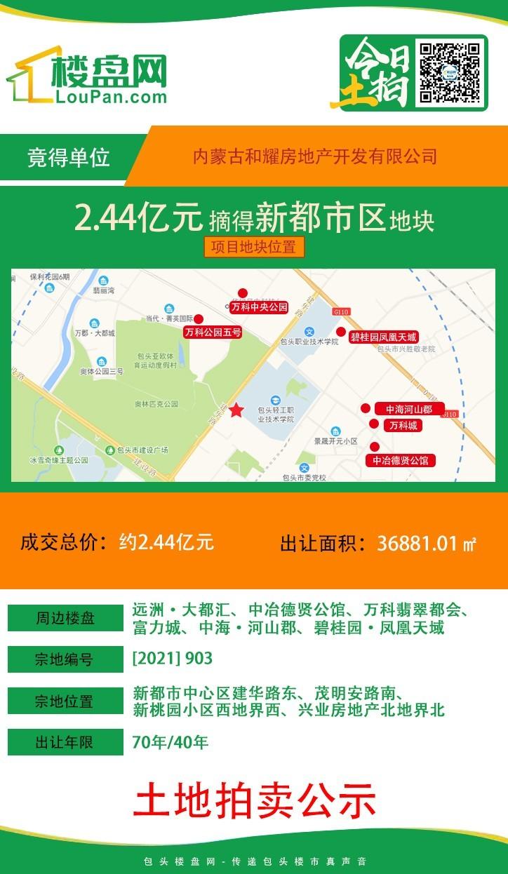 【土拍快讯】金地集团首驻包头 2.44亿摘得新都市区新地块!
