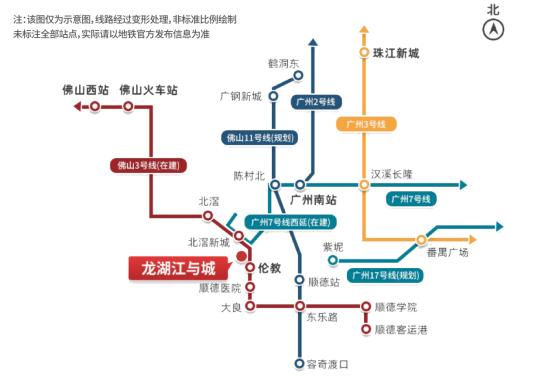 龙湖江与城地铁线网图