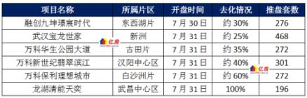 武汉2021年7月第5周6盘加推1盘日光,8月第1周7盘入市