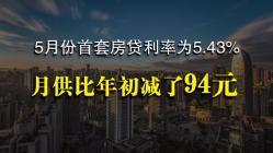5月份首套房贷利率为5.43% 月供比年初减了94元