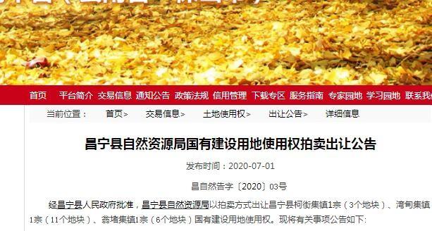 保山昌宁县3宗20个地块挂牌出让