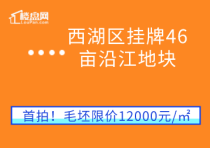 【樓盤網早報2020.8.9】西湖區掛牌46畝沿江地塊,毛坯限價12000元/㎡