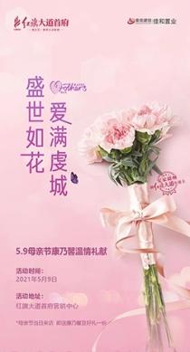 红旗大道首府感恩母亲节活动:来访售楼部即送康乃馨与好礼一份!