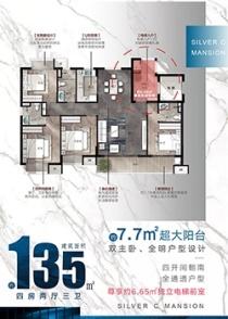 银宸公馆135平4房3卫户型来袭!7.7米超大景观阳台!双主卧设计!