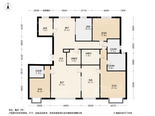 颐和金茂府B中户型 4室2厅3卫1厨