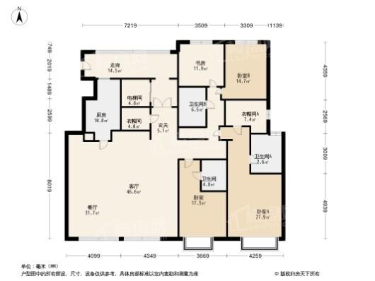 颐和金茂府A中户型 4室2厅3卫1厨