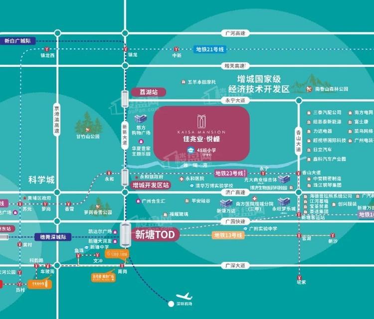 广州增城佳兆业悦峰位置图