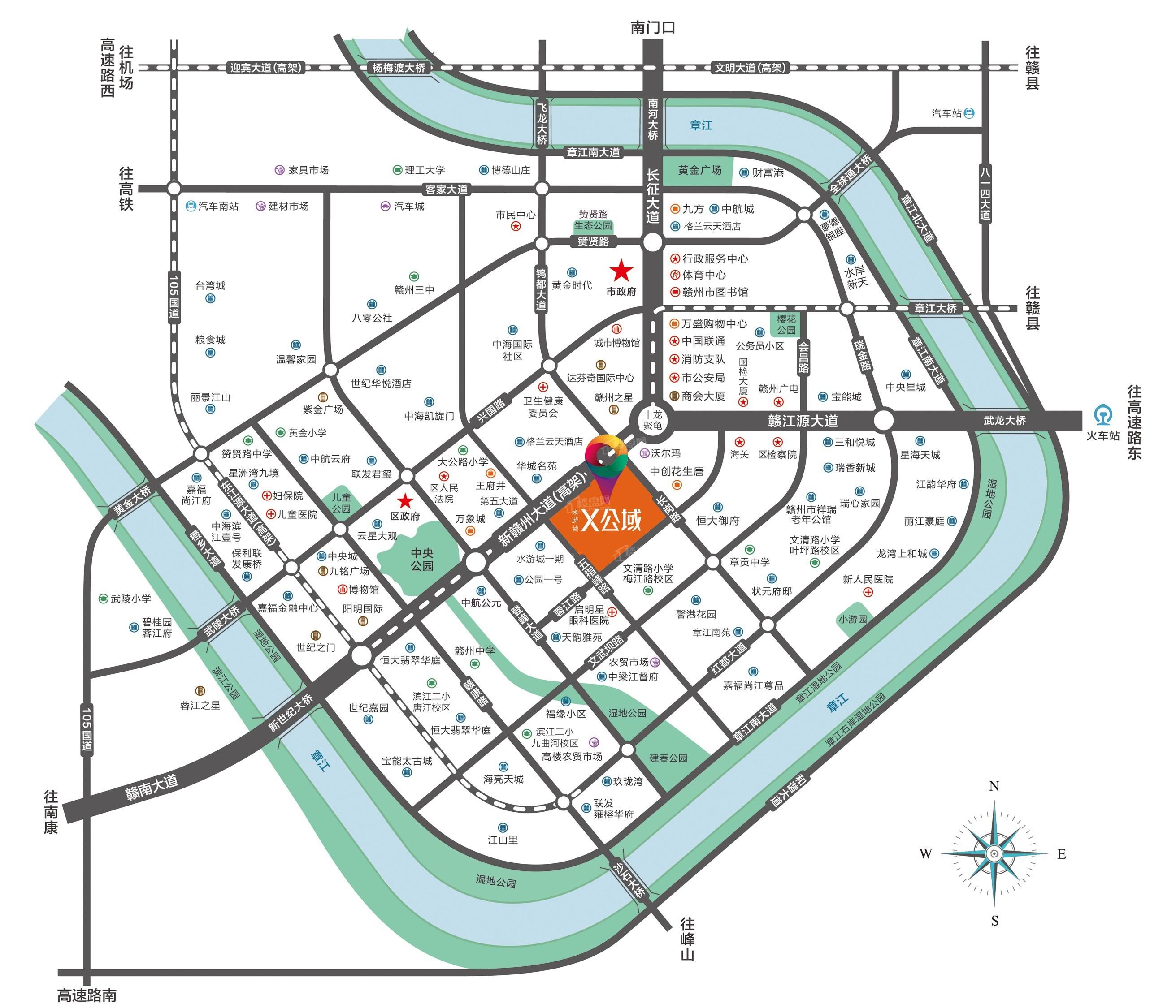 水游城X公域位置图