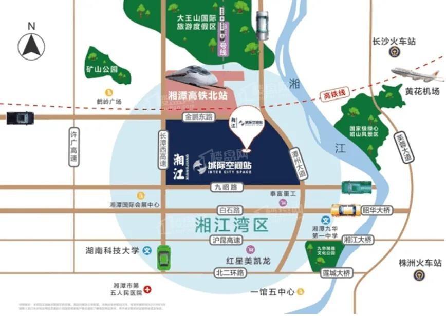绿地湘江城际空间站位置图