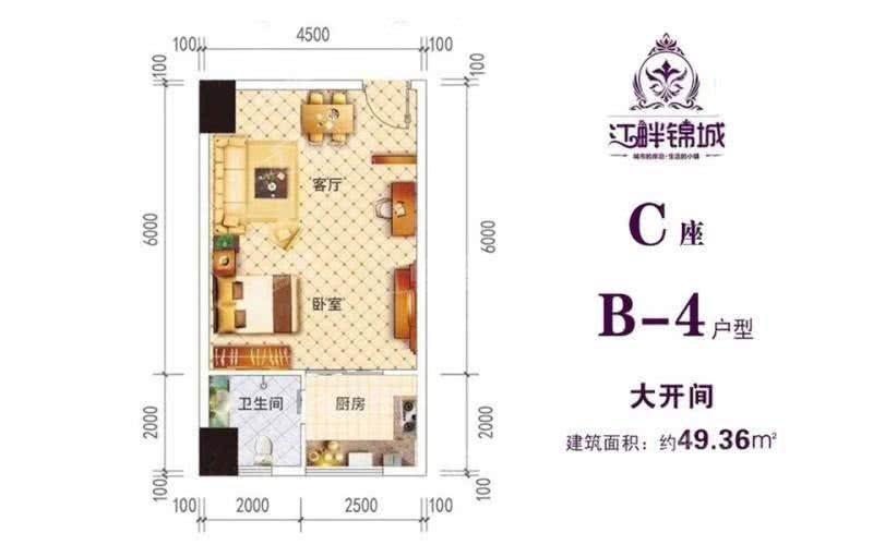 B-4户型建筑面积约:49㎡1室1厅1卫