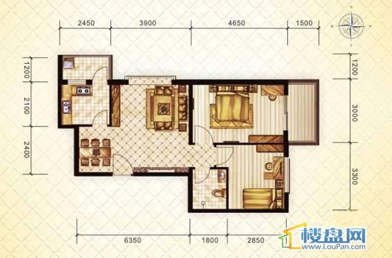 二期16#(东)A户型2室2厅1卫1厨