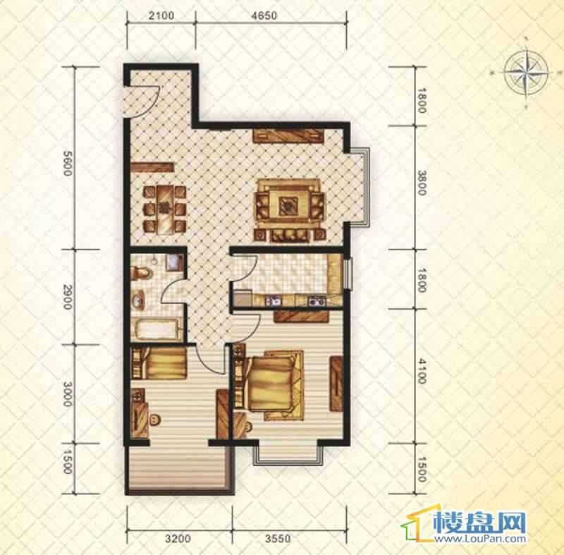 二期16#(东)B户型2室2厅1卫1厨