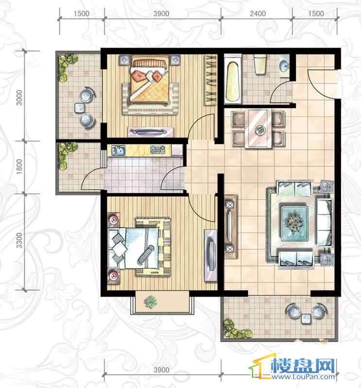 二期15#(东)B户型2室2厅1卫1厨