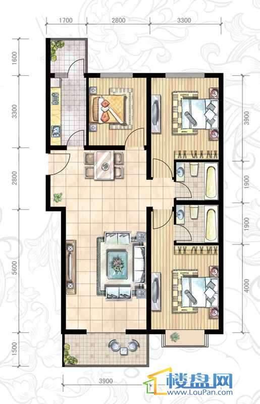 二期15#(东)D户型3室2厅2卫1厨