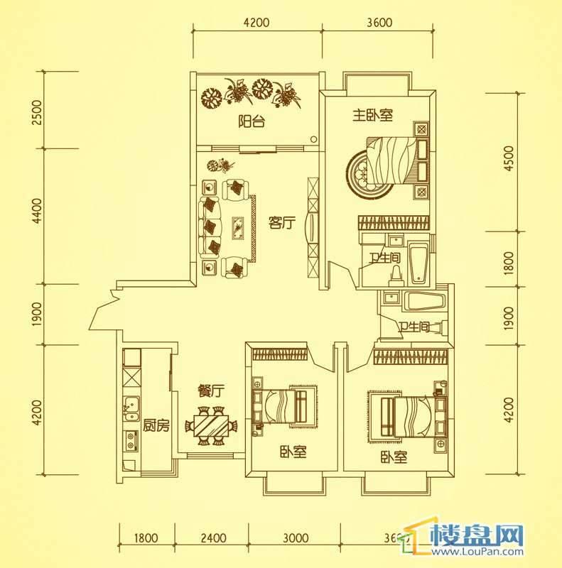 锦绣蓝湾4、8栋户型二3室2厅2卫1厨
