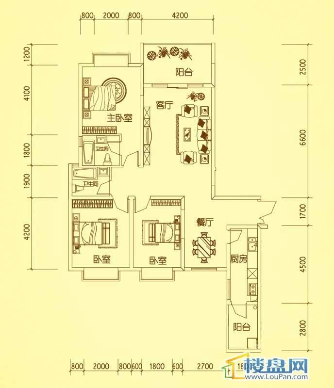 锦绣蓝湾4栋户型六3室2厅2卫1厨