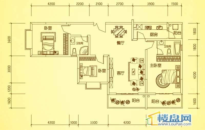 锦绣蓝湾4栋户型四3室2厅2卫1厨