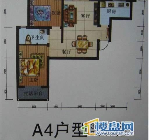 二期2-3、5-7、41号楼标准层A4号房户型