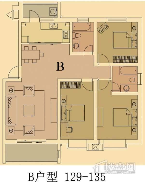 欧鹿生活城三室二厅二卫户型图