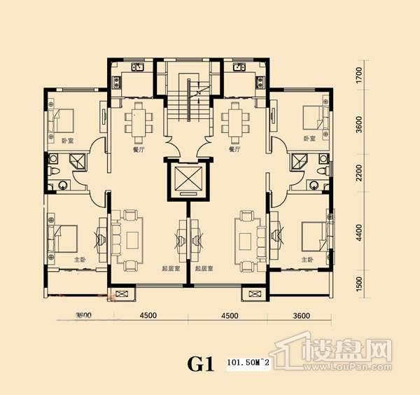 欧鹿生活城二室二厅一卫户型图