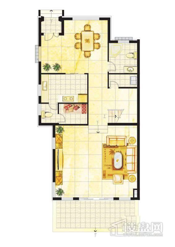 波西塔诺联排别墅户型-C1-A-首层平面