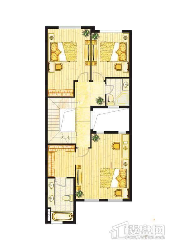 波西塔诺联排别墅户型-C1-B-二层平面