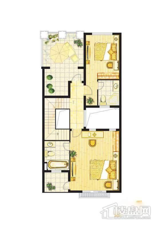 波西塔诺联排别墅户型-C1-B-三层平面