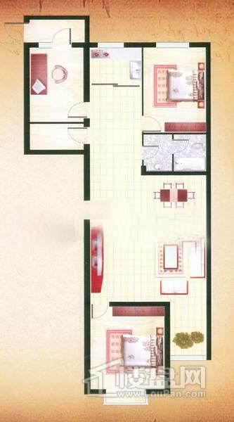 良鑫苑项目C户型3室2厅1卫