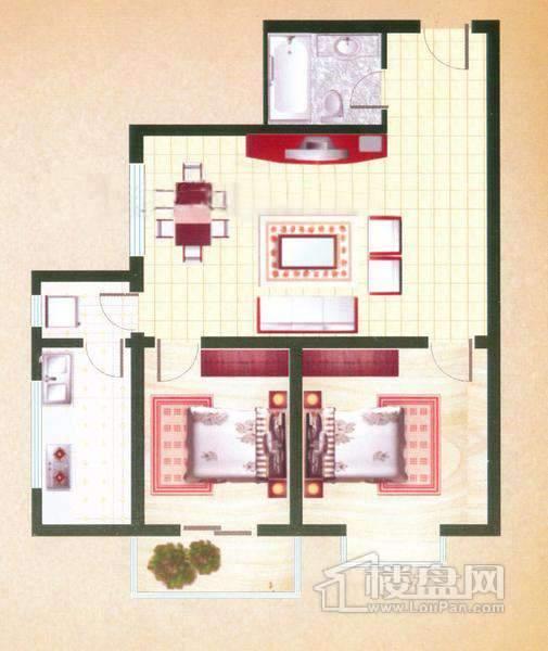 良鑫苑项目B户型2室2厅1卫
