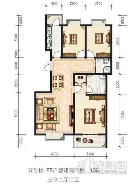 蓝山公馆五号楼F5户型3室2厅2卫1厨