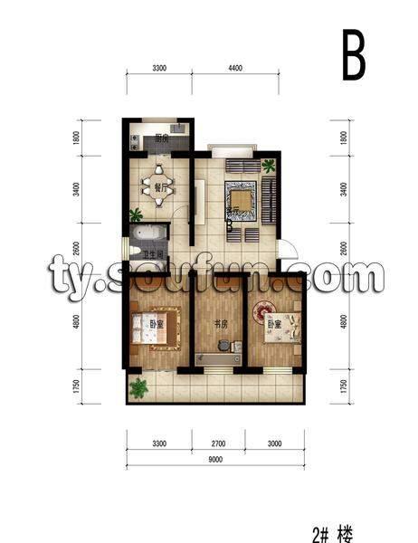 佳宏苑3室2厅一卫一厨128.41平米