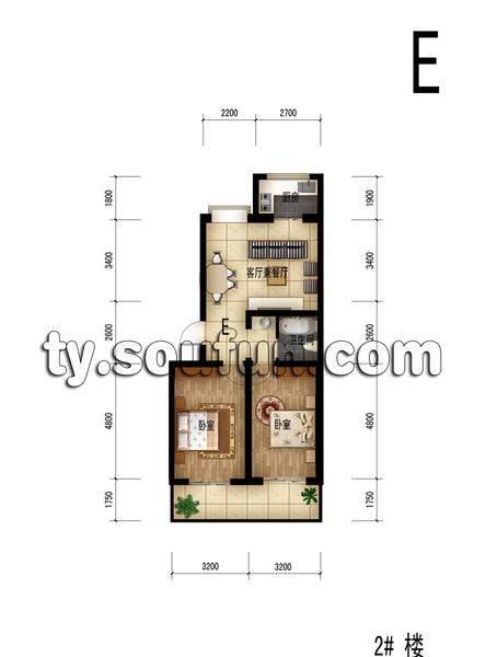 佳宏苑2室1厅1厨1卫86.58平米户型