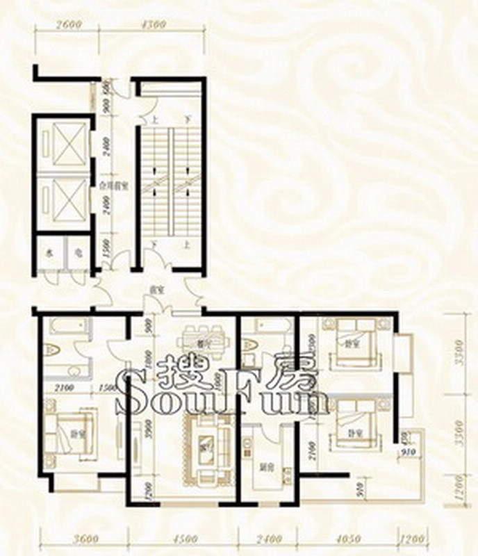 鸿昇龙潭公馆绿涛C-3三室两厅两卫