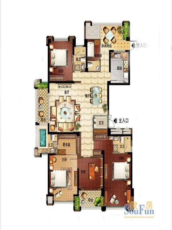 融侨国际公馆1#楼房型1平面图