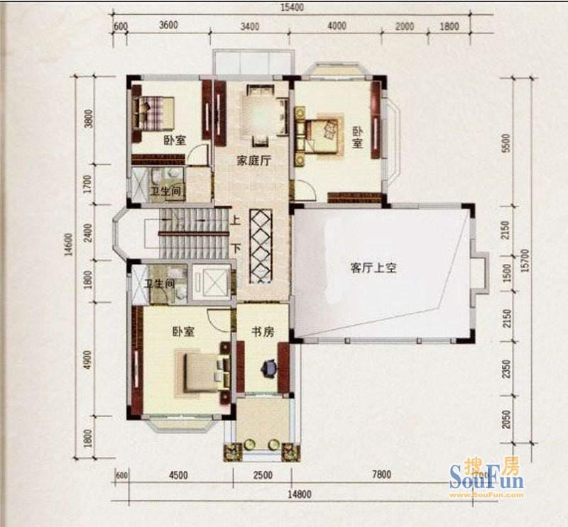 宝城翡翠园F户型3层