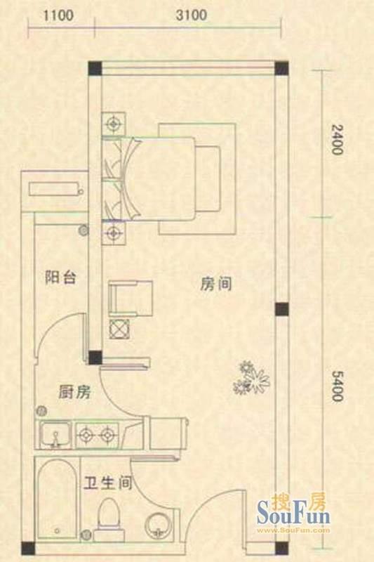 凯都国际4~16层02户型