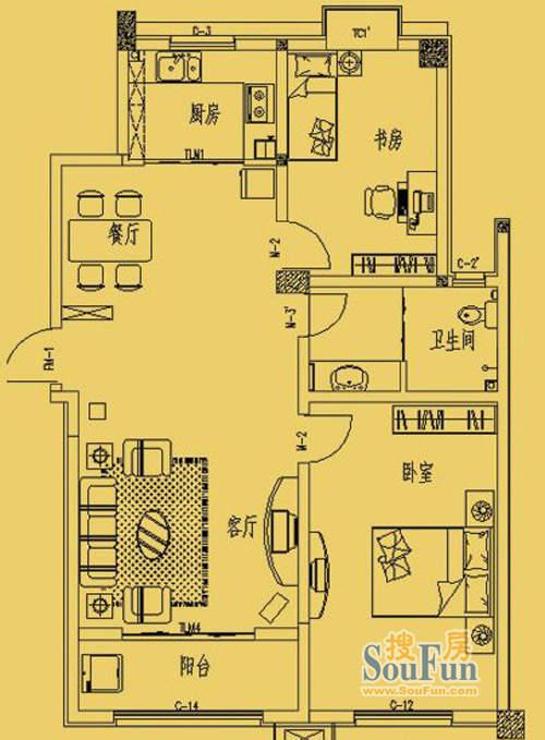 东营市三和馨苑户型106.4两室两厅