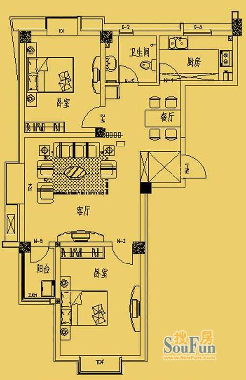 东营市三和馨苑户型100两室两厅一