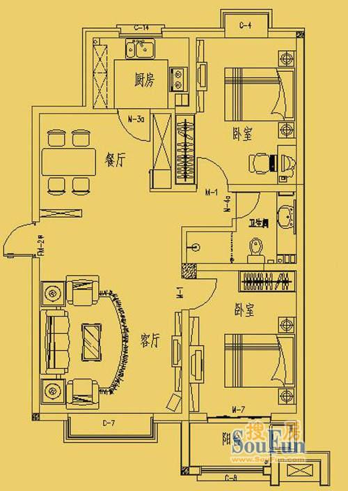 东营市三和馨苑户型97.2两室两厅