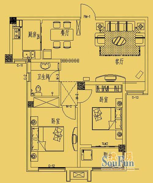 东营市三和馨苑户型86两室两厅一