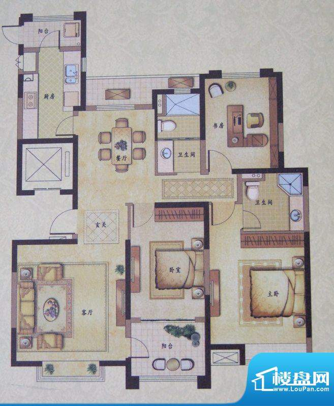 风尚米兰3#楼B2户型面积:129.00平米
