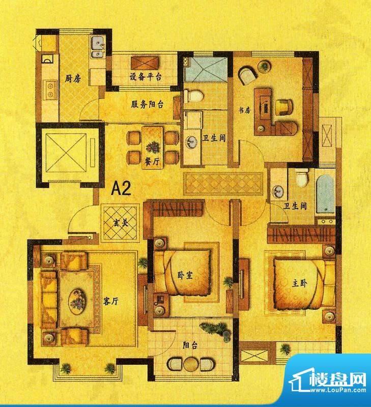 风尚米兰A2户型 3室面积:126.70平米