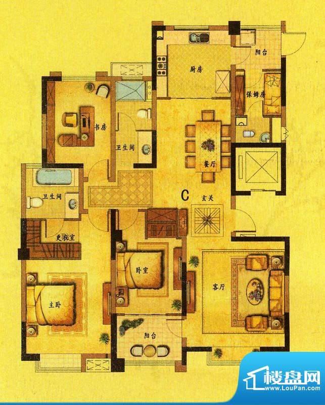 风尚米兰C户型 4室2面积:162.40平米