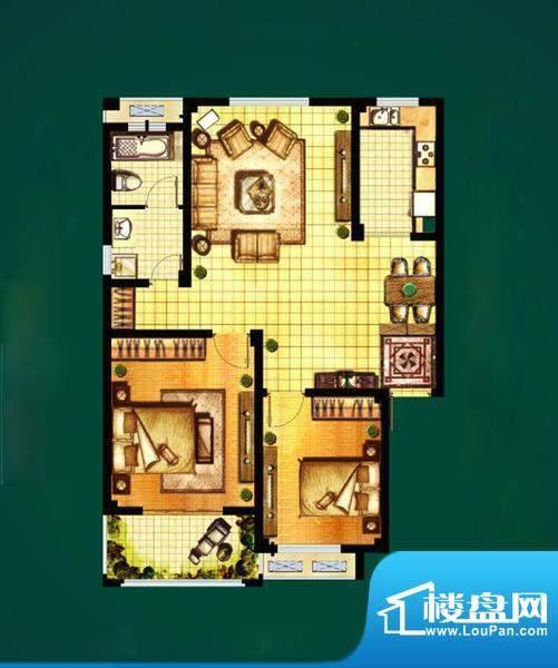 山水湾D7 2室2厅1卫面积:88.90平米